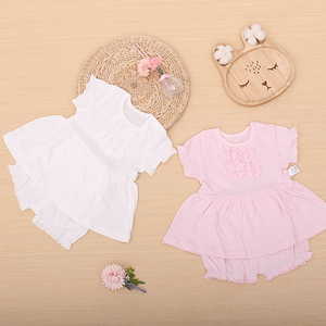 100% cotton summer lace sleeve pink white flowers newborn baby girls summer dress set with pants baby dress baby