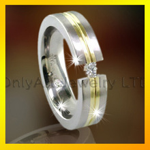 classic 316stainless steel finger one CZ stone square gold men rings jewelry wholesale