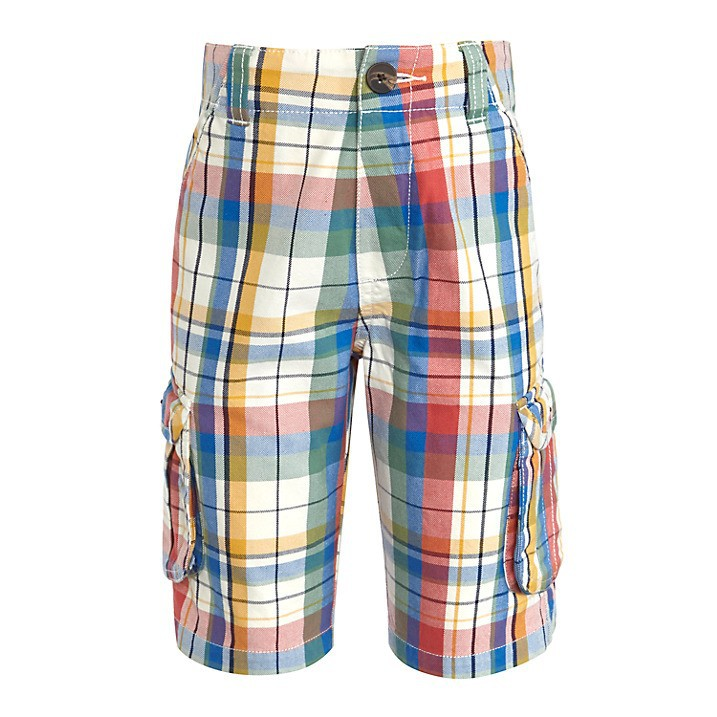 100% cotton check Plaid Children Boys Combat Shorts / latest Check Kid boys Bermuda Cargo Shorts