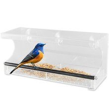 Clear Acrylic Large Window Bird Feeder with Removable Tray, Drain Holes Glass Mount Seed Holder