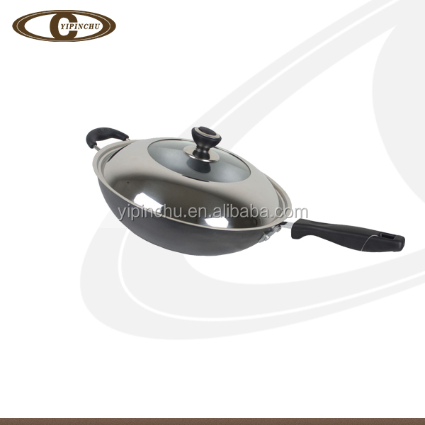 Aluminum alloy non-stick induction wok with glass lid