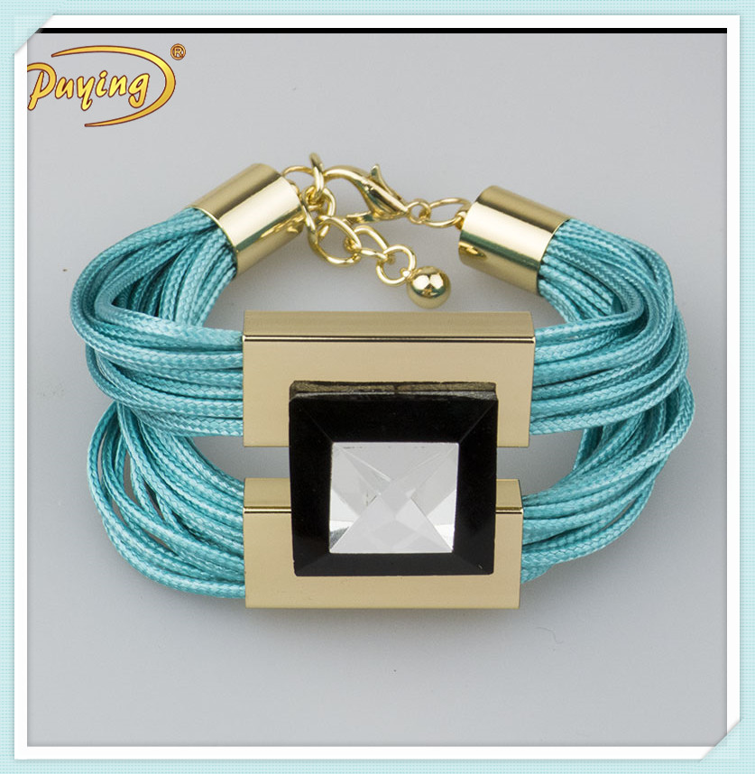 Newest handmade wax cord bracelet with glass bead friendship bracelet