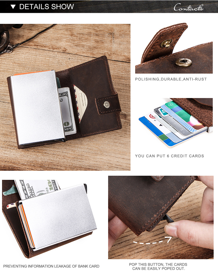 contact's 2020 drop ship crazy horse leather embroidery rifd blocking case aluminum automatic pop up leather credit card holder