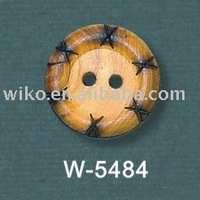 2holes natural laser wooden upholstery buttons