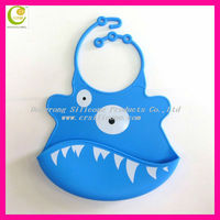 Silicone Baby Bibs with Teething/ Quilted Baby Bibs/ Printed Animal PatternBaby Bibs in Blue Shark Style