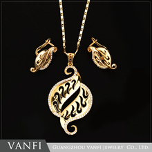 18K Gold Plated Fine Jewelry Elegant Fashion Diamond Jewelry Set
