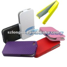 Carbon fiber Mobile Phone Accessories Leather Case for iphone 4G