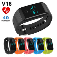 V16 Smart Bracelet Bluetooth Waterproof IP67 Fitness Sports Tracker Heart Rate Monitor Smart Wristband for iPhone Android Phone
