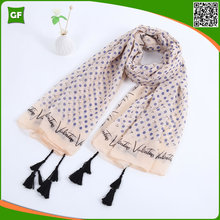 Elegant Dot Printing Comfortable High Quality Light Cotton Fashion Women Scarf Tassels Decorative Shawls
