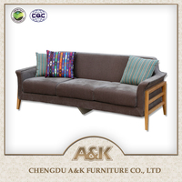 Home Sofa Furniture Three Seater Modern Wooden Sofa Sets