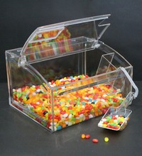 Clear candy bin acrylic display bulk food bin in retail store