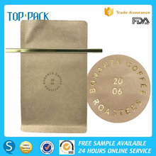 Gold stamping laminated foil line kraft paper flat bottom bag with tin tie for coffee