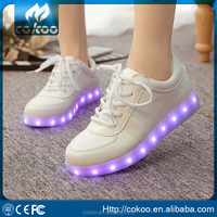 New Gift ItemPU leather basketball street dance luminous high top LED sneakers LED Light Sneaker Shoes Adult