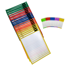 Assorted Colors Reusable Plastic Dry Erase Pockets for Kids, Teachers, School, and Classroom Use