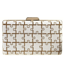 Hard shell women's bags, Puzzle Pieces Printed evening bags EV1129