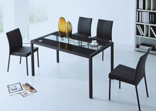 simple design rectangular tempered glass top Dining Table Set