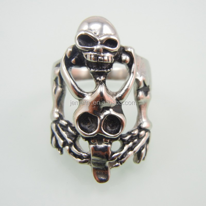 316L Stainless Steel Silver Ring Mens Motorcycle Biker Band Party Mens Ring Double Skull Ring