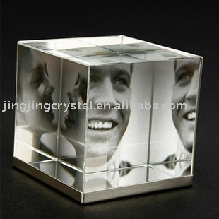 popular cube crystal photo frame for family with three picture