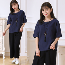 zm40536b high quality simple design women linen loose t shirt breathable blouses
