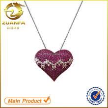 women micro pave zircon jewelry thailand silver ruby heart pendant