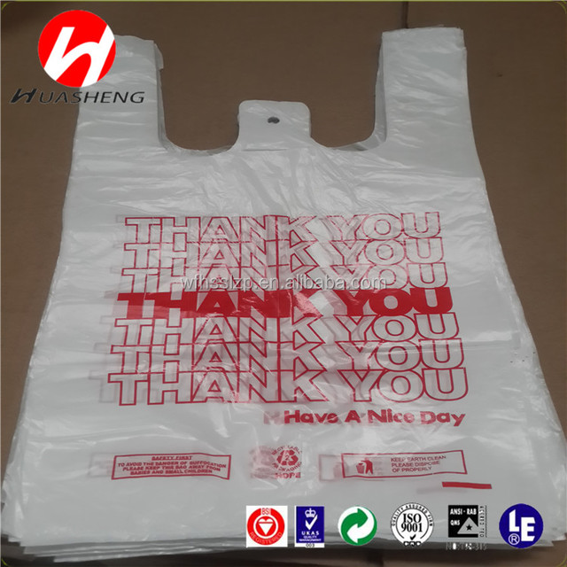 biodegradable THANK YOU T shirt bag/vest carrier hdpe plastic shopping bags