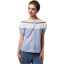 Short-sleeved round collar blouse Lace patchwork blouse Ladies slim blouse