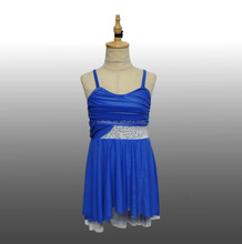 MBQ1090 Adult performance competition stage ballet jazz blue lycrial romantic dance dress