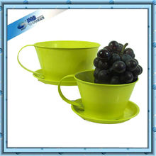 Teacup pattern metal pot for fruit and plant