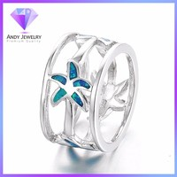 Fashionable sterling silver star rings designs, cheap fire opal stone rings price