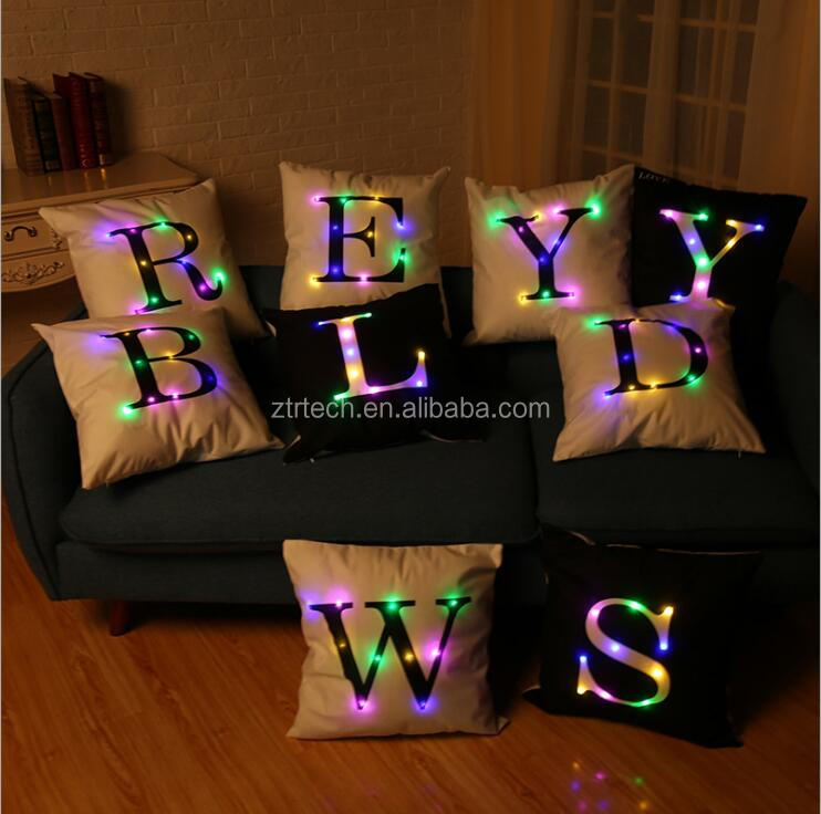 Led cushion cover flashing soft english alphabet print home sofa pillow case