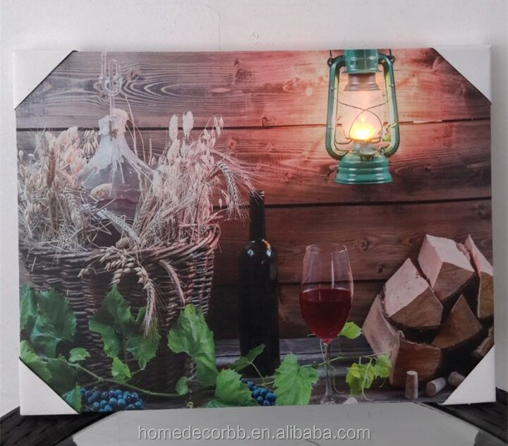 Wholesale led canvas wall art wine design wall canvas with lights up stretched and framed art work for any room
