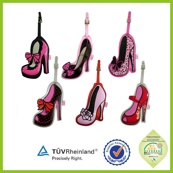 unique design hard plastic high-heel shoe shape luggage tag