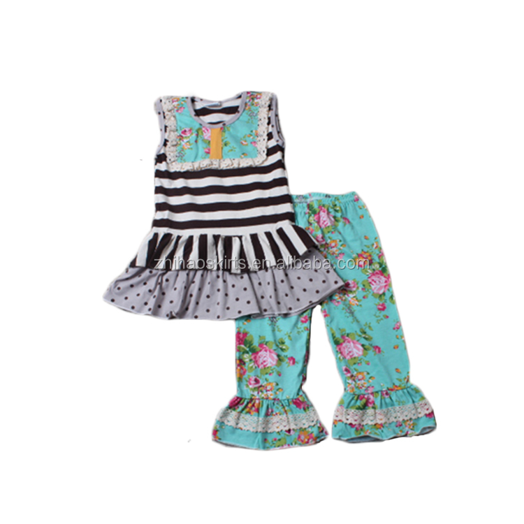 baby girl boutique clothing sets sleeveless black white stripe polka match floral pattern pants baby clothes set