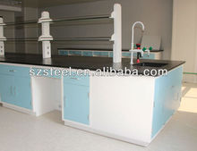 Island Chemical Lab table/Lab bench/with glass shelf