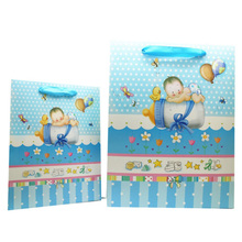 Blue baby feeder boy paper gift bag for birthday party