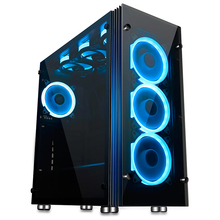 2017 new hot sale aigo computer case gaming tempered glass ATX desktop case