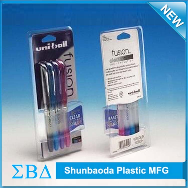 Top Quality plastic blister packaging, clear pet clamshell blister packaging for pen and pencils