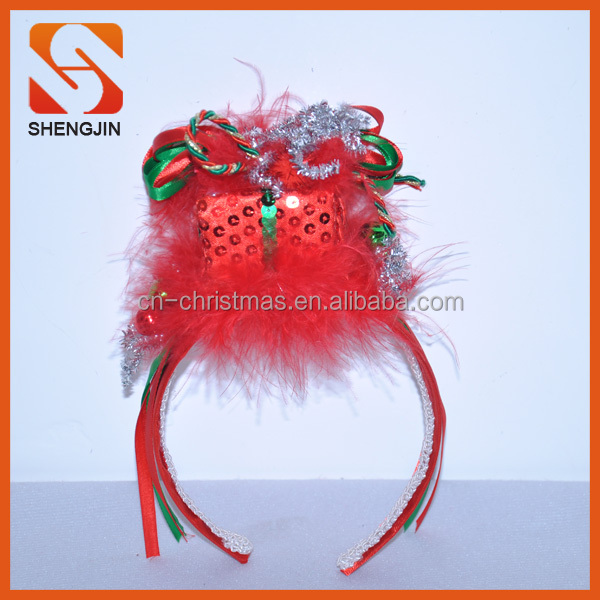 Xmas Ribbon Gift Box Christmas feather decoration Headband