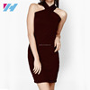 YIHAO New Fashion Short Solid Bodycon Cooktail Party Dress Red Sexy Ladies Bandage Dress