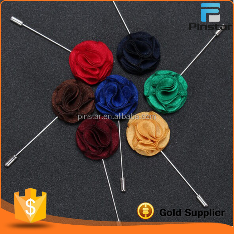 China manufacturers custom metal long needle brooch for men flower lapel pin