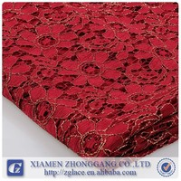 fashion design red lace fabric for curtain