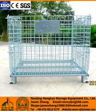 Galvanized folding warehouse wire mesh box/metal storage container