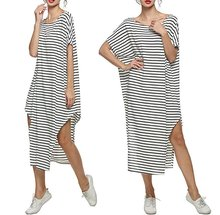 Wholesale Women's Striped Loose Long Dress Turkish Kaftans Cover up Beach Dress