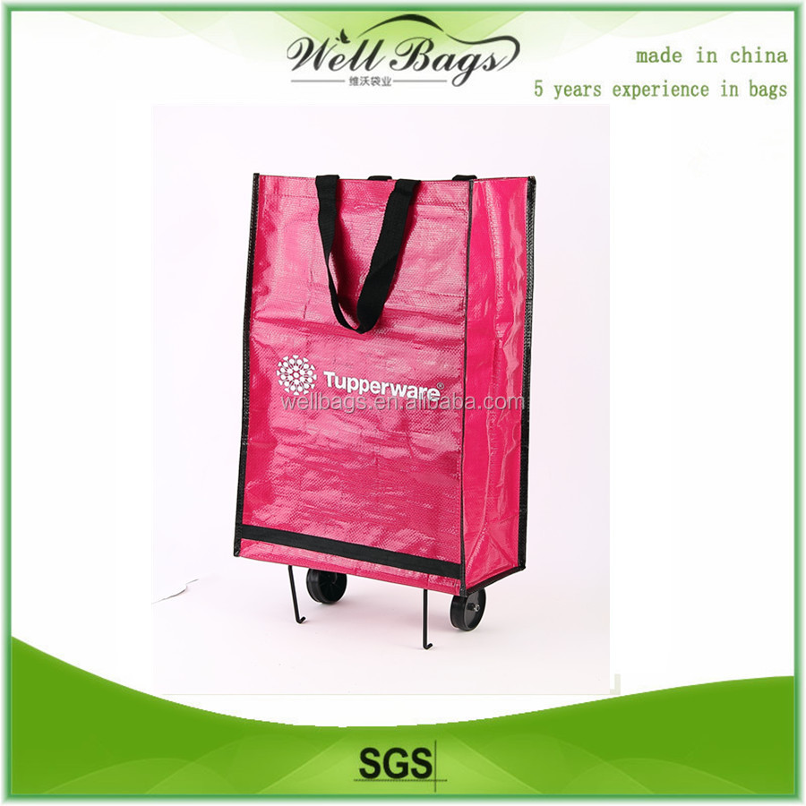 Reusable folding pp woven shopping bag with lamination