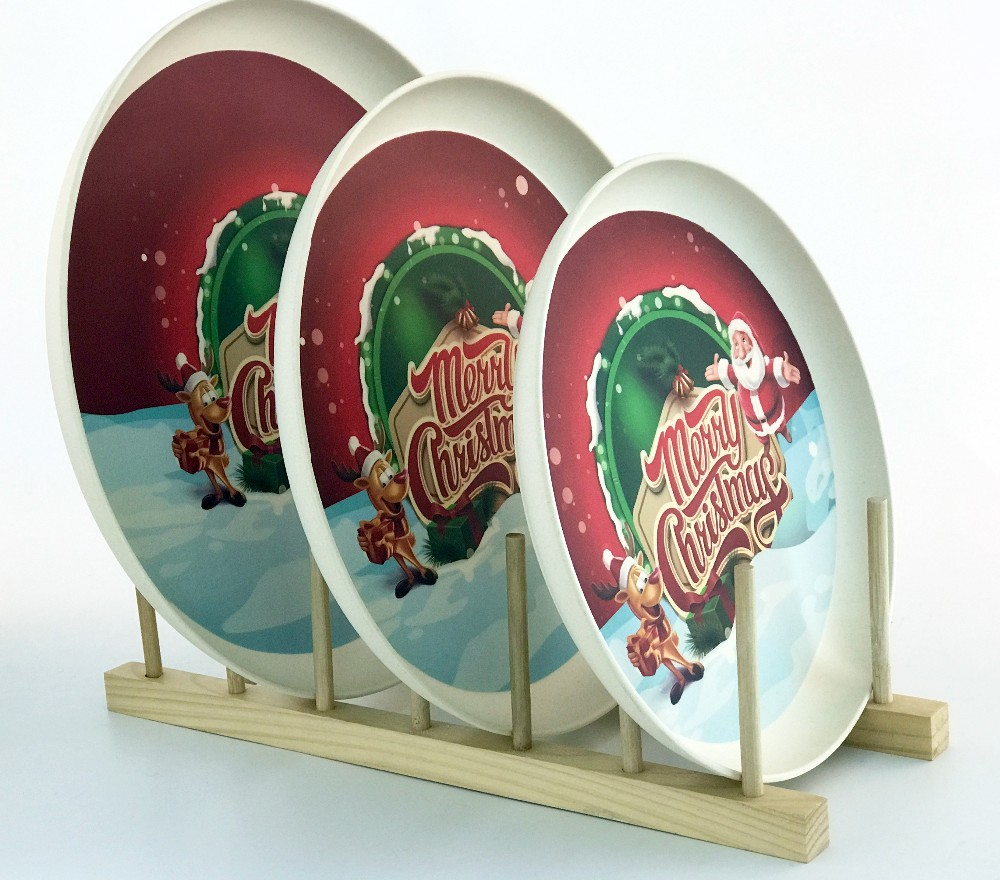 Christmas pattern design bamboo fiber round serving tray plate for home and hotel use