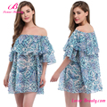 Wholesale Blue Bohemia Off Shoulder Cover Up Beachwear