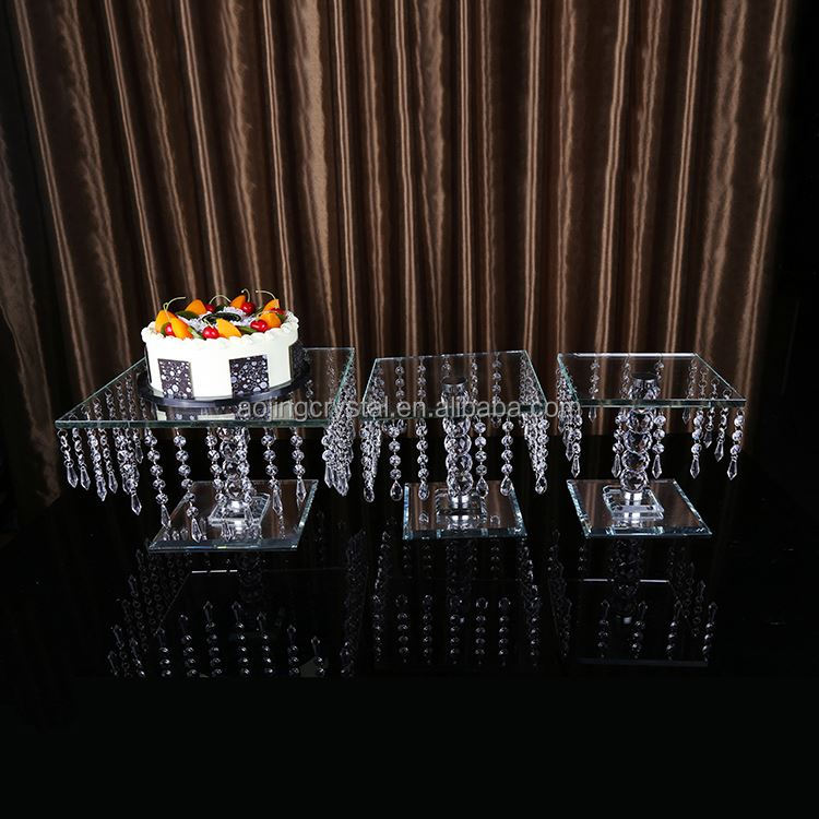 New and good quality square crystal cake stand for wedding table decoration
