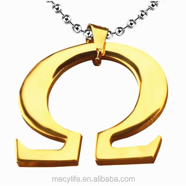 MECYLIFE 18K Gold Charms Stainless Steel Ares Queiroz Greek Alphabet Letter Charm Pendant
