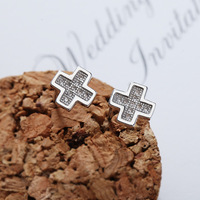 NEW ARRIVE Sterling Silver Jewelry Hot Korean Style Classic Cross Earrings Starry AAA Grade Quality Stud Earrings