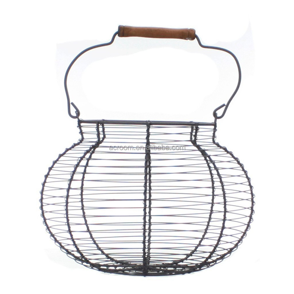Home decor antique style vintage shabby collapsible metal wire egg basket wholesale